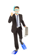 businessman holding a briefcase to  run