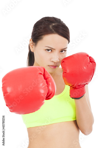 pretty Female boxer ready a fighting pose