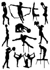 Gymnast Girls Silhouettes