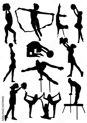 Gymnast Girls Silhouettes