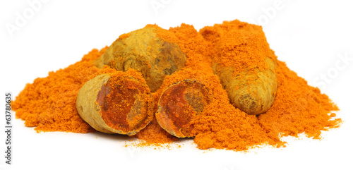Pile of dried and ground turmeric