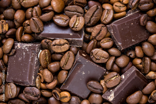 canvas print picture Chocolate and coffee background