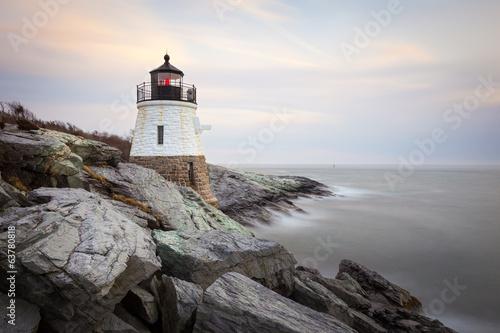 Foto op Canvas Vuurtoren / Mill Castle Hill Lighthouse at Sunset