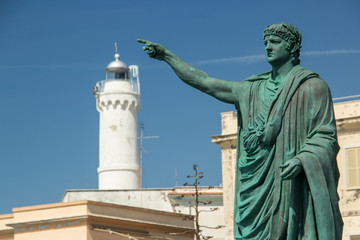 nero statue and lighthouse in Anzio, Italy