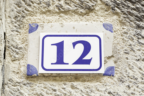 Number twelve on a wall