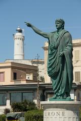 roman emperor Nero statue in Anzio, Italy