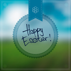 Happy Easter Vector Background With a Round Label