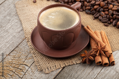 Coffee cup with spices
