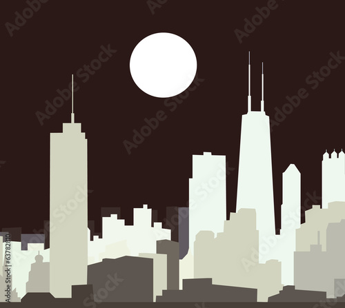 Night Chicago Skyline- vector