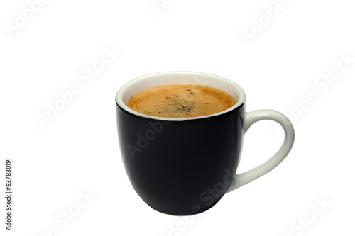 black cup of coffee isolated on white background