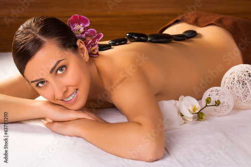 beautiful brunette in a massage salon