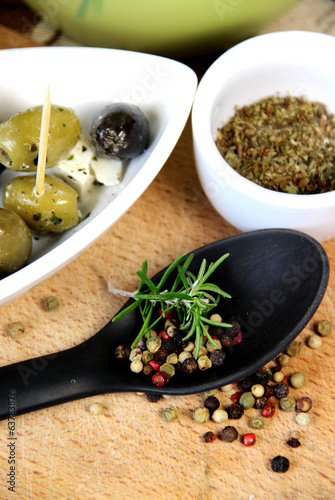 Mix of herbs and spices in the kitchen