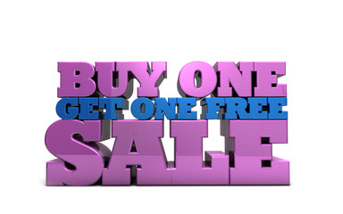 Buy One Get one Free Sale marketing 3D