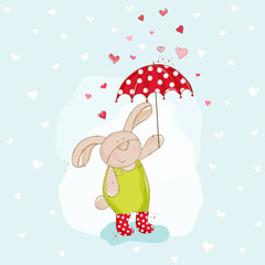 Baby Bunny with Umbrella Illustration - in vector