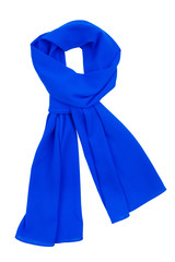 the scarf blue silk, tied in a beautiful knot