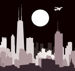 Chicago Skyline at Night- vector