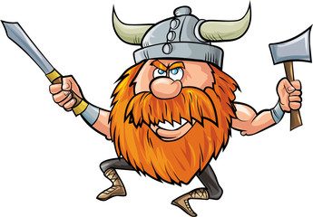 Jumping cartoon viking with sword and axe