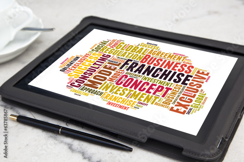 tablet with Franchise word cloud