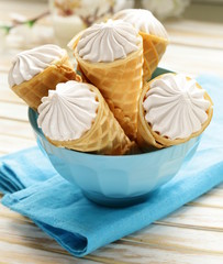 sweet wafer cone filled with vanilla cream