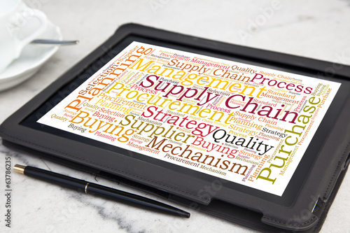 tablet with supply chain word cloud