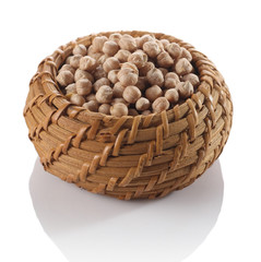 chickpeas in a wicker basket