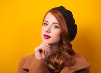 Redhead women in beret
