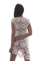 Back of woman in lace dress