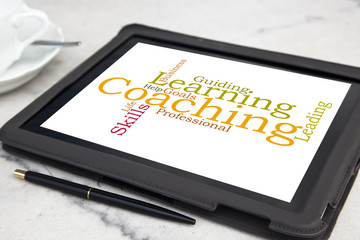 tablet with personal coaching word cloud