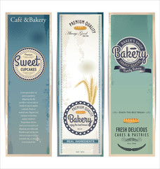 Bakery retro banner, set
