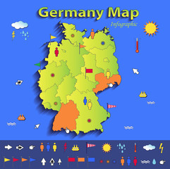 Germany map infographic political individual states paper 3D