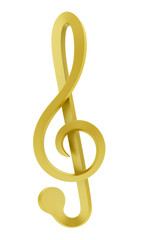 golden treble clef isolated on white background
