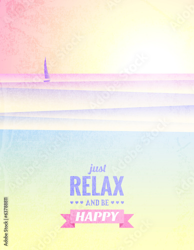 Vector vintage poster with sunrise on the sea