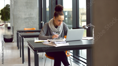 Young female student taking notes for her study