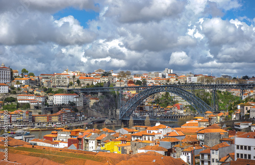 Panorama of Porto with Luis I Bridge, Portugal