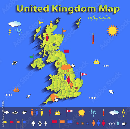 United Kingdom Great Britain England map infograpchic 3D