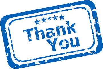 Stylized stamp showing the term thank you. white background