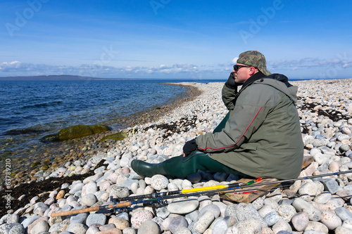 Angler enjoy beautiful Swedish sea coast landscape