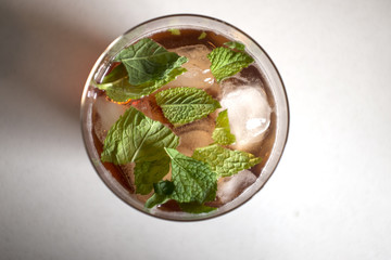 Sloe Gin Cocktail with Mint Leaves