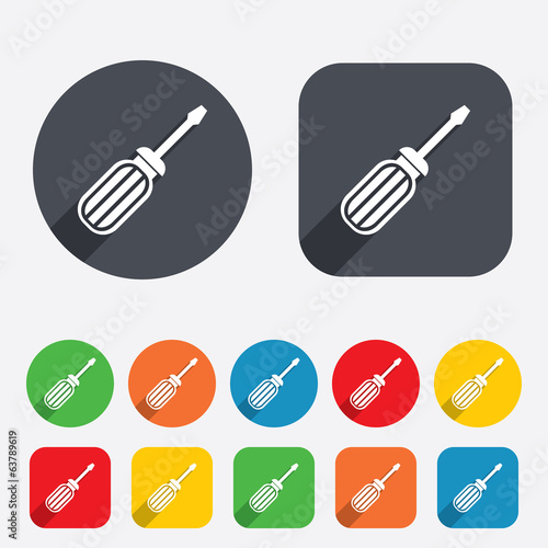 Screwdriver tool sign icon. Fix it symbol.