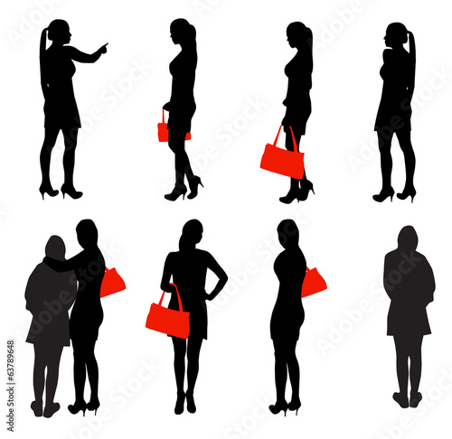 Set of Silhouette People. Vector Illustration.