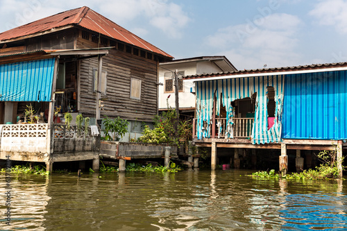 Slum on dirty canal in Asia