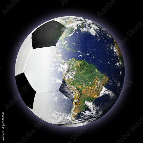 Soccer Ball and Planet Earth Merged Together