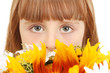 Portrait of beautiful little girl with flowers isolated on