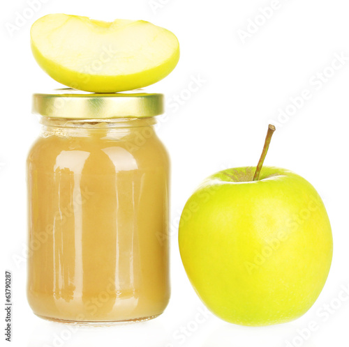 Jar with apple baby food isolated on white