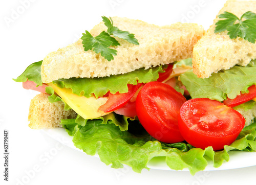 Fresh and tasty sandwiches on plate isolated on white