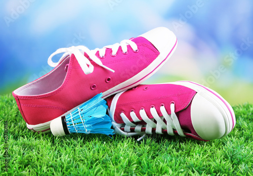 Beautiful gumshoes on green grass on bright background