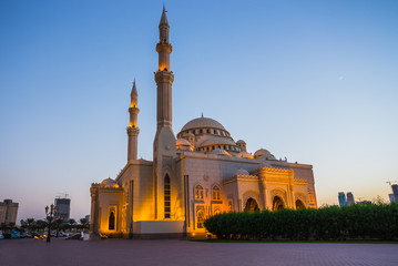 Al Noor Mosque in Sharjah at night