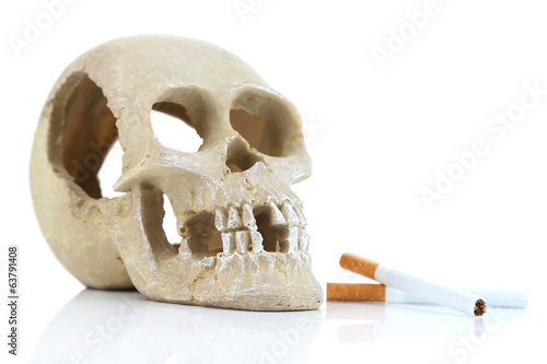 Skull with cigarette isolated on white