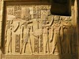 Temple of Kom Ombo, Egypt: the Pharaoh and Sobek - the crocodile