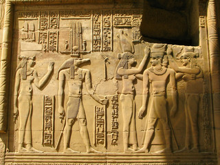 Temple of Kom Ombo, Egypt: the Pharaoh and Sobek - the crocodile